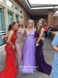 Trumpet/Mermaid Scoop Neck Sweep Train Tulle Beading Prom Dresses