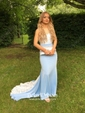 Sweetheart Silk-like Satin Sweep Train Appliques Lace Trumpet/Mermaid Backless Bridesmaid Dresses