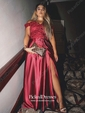 A-line Off-the-shoulder Sweep Train Appliques Lace Prom Dresses
