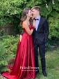 Princess Sweetheart Sweep Train Satin Ruffle Prom Dresses