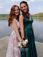 Princess Square Neckline Sweep Train Tulle Appliques Lace Prom Dresses