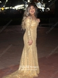 Trumpet/Mermaid Off-the-shoulder Sweep Train Sequined Sequins Prom Dresses