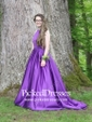 Princess Scoop Neck Floor-length Satin Beading Prom Dresses
