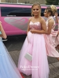 Classy Princess Sweetheart Tulle Sequined Beading Floor-length Prom Dresses
