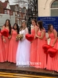 Original Chiffon Appliques Lace Floor-length V-neck Pink Bridesmaid Dress