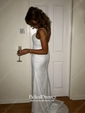 Sheath/Column V-neck Sweep Train Chiffon Sequins Prom Dresses