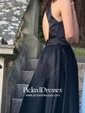 Princess High Neck Sweep Train Satin Ruffles Prom Dresses