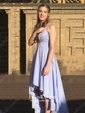 Casual Asymmetrical A-line V-neck Chiffon with Ruffles Backless Prom Dresses
