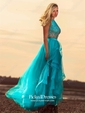 A-line Scoop Neck Floor-length Tulle Tiered Prom Dresses