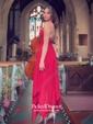 A-line V-neck Asymmetrical Chiffon Split Front Prom Dresses