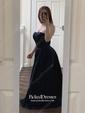 Princess Sweetheart Sweep Train Satin Ruffle Prom Dresses