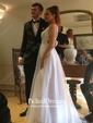 A-line V-neck Floor-length Tulle Ruffles Prom Dresses