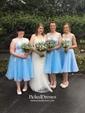 Scoop Neck Tulle Appliques Lace Junior Tea-length Bridesmaid Dress
