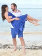 Blue Empire One Shoulder Ruffles Chiffon Knee-length Simple Bridesmaid Dresses