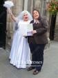 A-line Scalloped Neck Satin Lace Sashes / Ribbons Floor-length 1/2 Sleeve Elegant Wedding Dresses