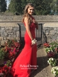 Trumpet/Mermaid Scoop Neck Sweep Train Satin Split Front Prom Dresses