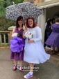 A-line Scoop Neck Lace Organza with Bow Tea-length 3/4 Sleeve Cheap Wedding Dresses