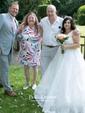 Ball Gown V-neck Floor-length Lace Satin Appliques Lace Wedding Dresses