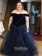 Ball Gown Off-the-shoulder Floor-length Tulle Velvet Prom Dresses