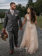 Inexpensive A-line Scoop Neck Tulle Appliques Lace Floor-length Wedding Dresses