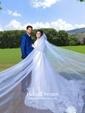 Best Princess Scoop Neck Tulle Appliques Lace Court Train 3/4 Sleeve Wedding Dresses