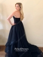 Princess Sweep Train Sweetheart Ruffles Tulle Affordable Prom Dresses