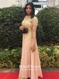 Princess Scoop Neck Sweep Train Chiffon Appliques Lace Prom Dresses
