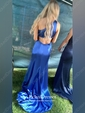 Trumpet/Mermaid One Shoulder Satin Sweep Train Split Front Prom Dresses