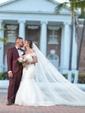 V-neck Lace Tulle Court Train Appliques Lace Graceful Trumpet/Mermaid Wedding Dresses