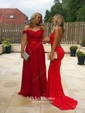 Trumpet/Mermaid Off-the-shoulder Tulle Silk-like Satin Sweep Train with Sashes / Ribbons Bridesmaid Dresses