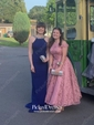 Sweet A-line Scoop Neck Lace with Tea-length Lace-up Prom Dresses