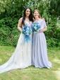 Empire V-neck Floor-length Chiffon with Sashes / Ribbons Bridesmaid Dresses
