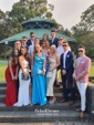 A-line V-neck Floor-length Ruffles Satin Prom Dresses