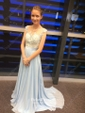 Affordable Scoop Neck Blue Chiffon Tulle Appliques Lace Floor-length Bridesmaid Dresses