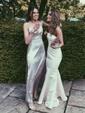 Trumpet/Mermaid Strapless Silk-like Satin Sweep Train Ruffles Bridesmaid Dresses
