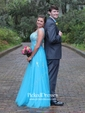Different Princess V-neck Tulle Beading Backless Prom Dresses