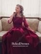 A-line Off-the-shoulder Satin Floor-length Appliques Lace Burgundy Bridesmaid Dresses