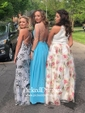 Unique A-line V-neck Chiffon Floor-length Ruffles Backless Bridesmaid Dresses