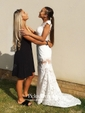 Newest Trumpet/Mermaid Scoop Neck Ivory Tulle Appliques Lace Sweep Train Open Back Prom Dresses