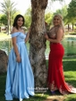 A-line V-neck Satin with Ruffles Floor-length Blue Two Piece Different Prom Dresses