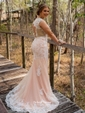 Pretty Champagne Trumpet/Mermaid Scoop Neck Tulle Appliques Lace Sweep Train Open Back Prom Dresses