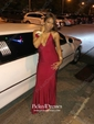 Sheath/Column V-neck Ruffles Jersey Sweep Train Burgundy Backless Hot Prom Dresses