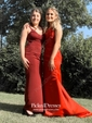Red Trumpet/Mermaid V-neck with Appliques Lace Sweep Train Popular Prom Dresses