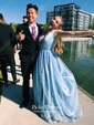 A-line V-neck Floor-length Tulle with Beading Prom Dresses