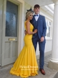 Trumpet/Mermaid V-neck Sweep Train with Ruffles Prom Dresses