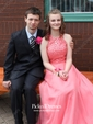 Burgundy A-line Scoop Neck Chiffon with Beading Floor-length Prom Dress