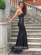 Sheath/Column Sweetheart Sweep Train Sequined Sequins Prom Dresses