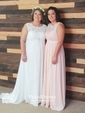 Affordable A-line Scoop Neck Lace Chiffon Floor-length Bridesmaid Dresses