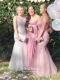 Trumpet/Mermaid Strapless Sweep Train Sequined Prom Dresses
