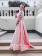 A-line Halter Sweep Train Satin Beading Prom Dresses
